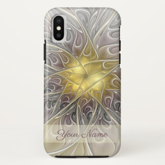 Flourish Gold Modern Abstract Fractal Flower Name iPhone X Case
