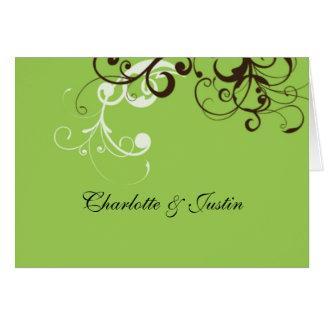 flourish; green greeting cards