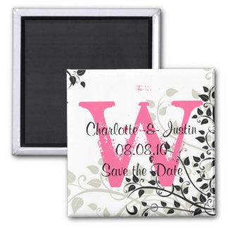 flourish monogram; save the date square magnet