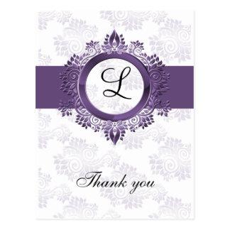 flourish purple monogram wedding thank you postcard