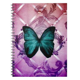 Flourish Purple Swirls Bohemian Teal Butterfly Spiral Notebooks