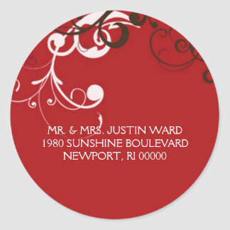 flourish; red address round sticker