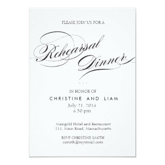 Flourish Script Rehearsal Dinner Card