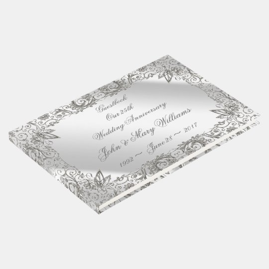 Flourish Silver 25th Wedding Anniversary Guestbook