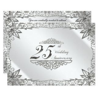 Flourish Silver 25th Wedding Anniversary Invite