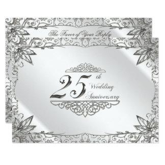 Flourish Silver 25th Wedding Anniversary RSVP Card
