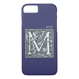 flourish silver monogram - M iPhone 7 Case