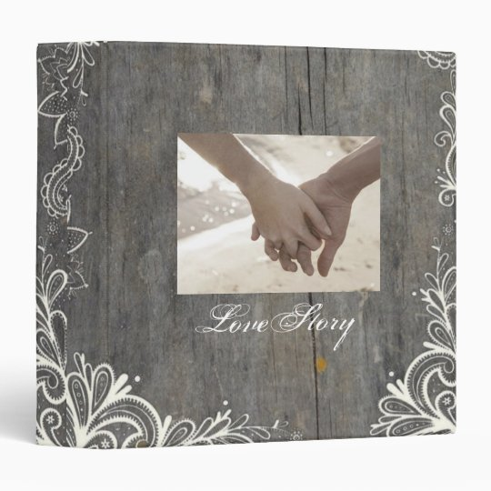 flourish swirls lace wood country wedding vinyl binders
