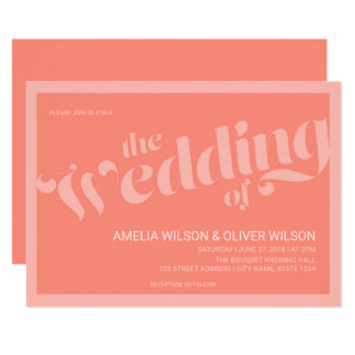 Flourish Typography Coral Salmon Wedding Card