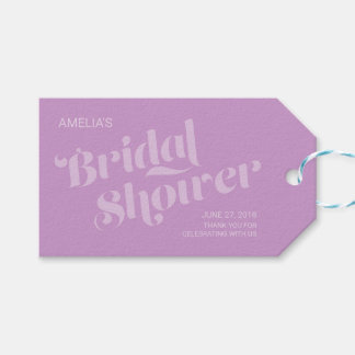 Flourish Typography Lavender Lilac Bridal Shower Pack Of Gift Tags