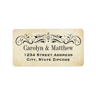 Flourish vintage de retour des étiquettes de étiquette d'adresse