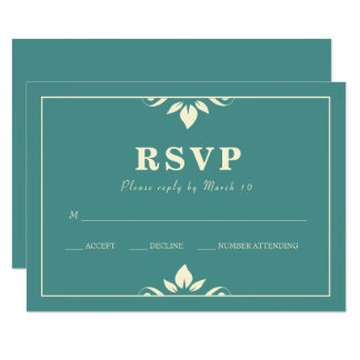 Flourish With Border RSVP Card