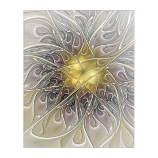 Flourish With Gold Modern Abstract Fractal Flower Acrylic Print