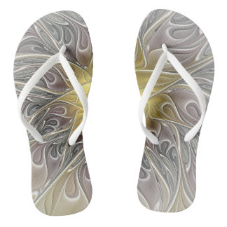 Flourish With Gold Modern Abstract Fractal Flower Flip Flops