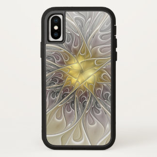 Flourish With Gold Modern Abstract Fractal Flower iPhone X Case