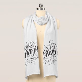Flourished Merry Christmas Religious Calligraphy Scarf