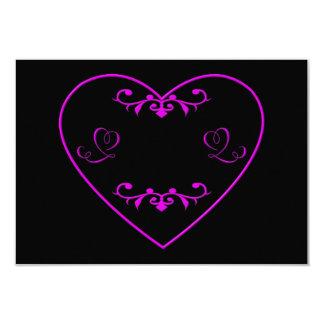 "Flourished purple heart 3.5"" x 5"" invitation card"