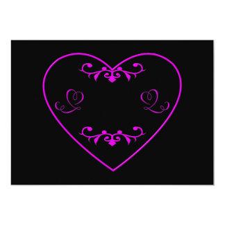 "Flourished purple heart 5"" x 7"" invitation card"