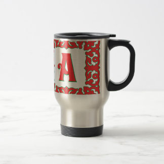 Flourished Red Framed Monogram A 15 Oz Stainless Steel Travel Mug