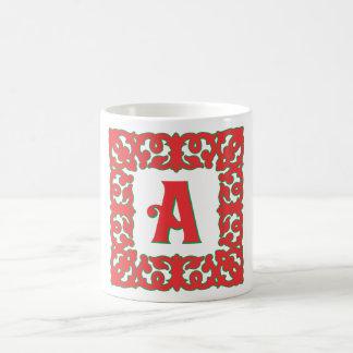 Flourished Red Framed Monogram A Classic White Coffee Mug