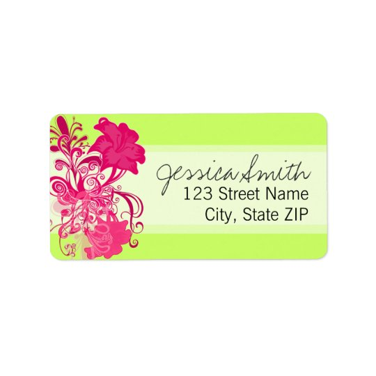 Flourishing Pink Flowers in Lime Label