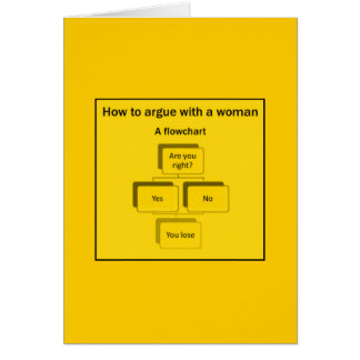 FLOW CHART WOMEN WIN LOSE RIGHT WRONG FUNNY HUMORE CARDS