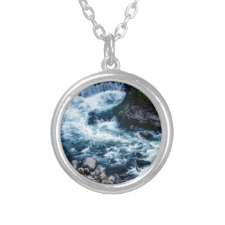 flow of the river white silver plated necklace