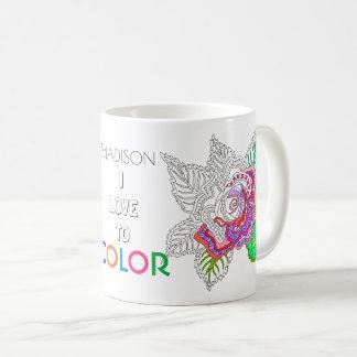 Flower 020617 Adult Colouring Fun I Love To Colour Coffee Mug