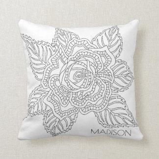 Flower 020617 Adult Colouring Monogram Reversible Throw Pillow