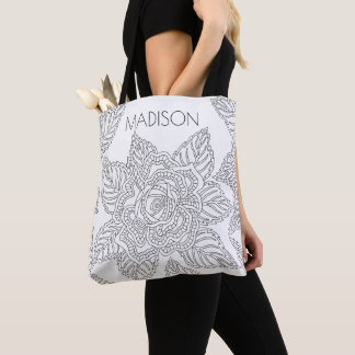 Flower 020617 Adult Colouring Rose Beautiful Name Tote Bag