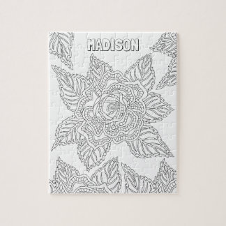 Flower 020617 Adult Colouring Rose Optional Name Jigsaw Puzzle