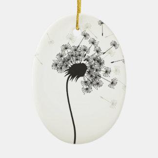 Flower a dandelion ceramic oval ornament