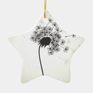Flower a dandelion ceramic star ornament