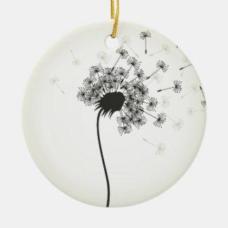 Flower a dandelion round ceramic ornament