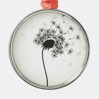 Flower a dandelion Silver-Colored round ornament