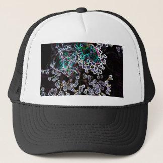 flower abstract glowing edges dark cool design trucker hat