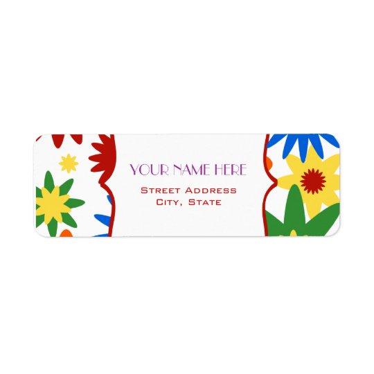 Flower Address Label - Bright Colours