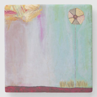 Flower alone abstract painting coaster
