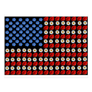 Flower American Flag Postcard