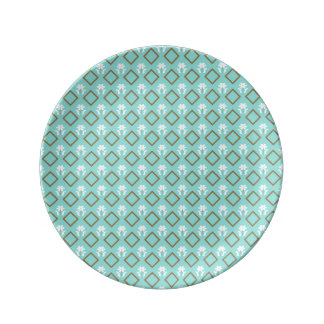flower among diamonds   porcelain plate