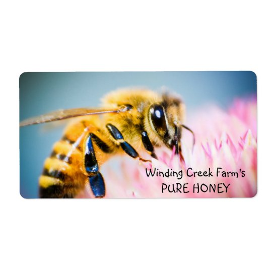 Flower and Bee Personalized Honey Label