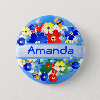 Flower and Butterflies ~ Name Button