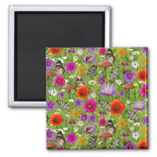Flower and Butterfly Collage Pattern Square Magnet