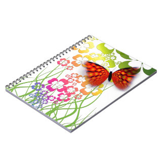 Flower and Butterfly Spiral Note Books