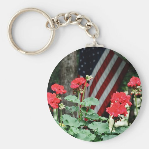 Flower and flag Red white and blue Keychains