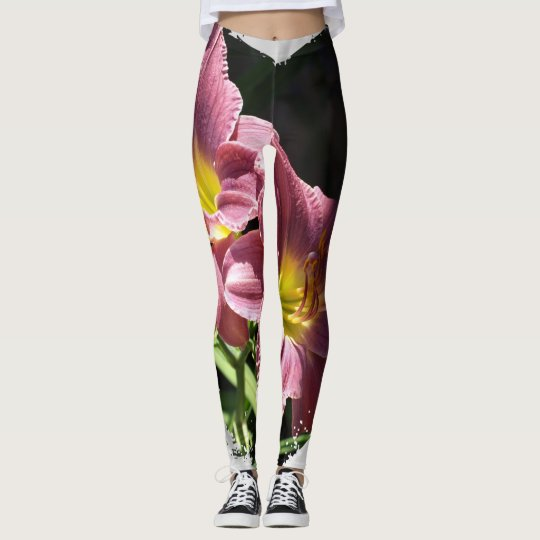 Flower and heart leggings
