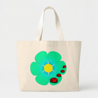 Flower and ladybugs tote bag