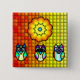 Flower And Owls with Tiled Background 2 Inch Square Button