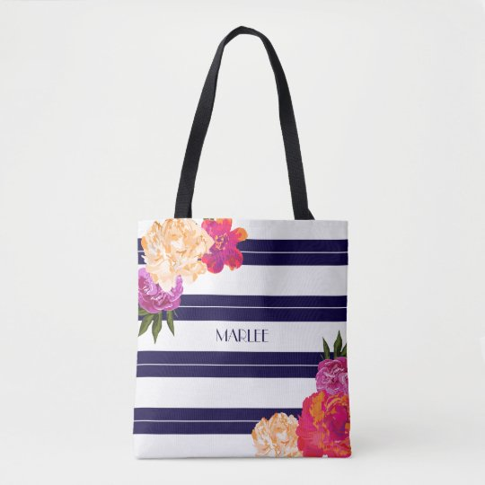 Flower and Stripes Beach Style Tote Bag