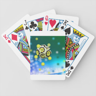 Flower and tennis balls flying on air. bicycle playing cards